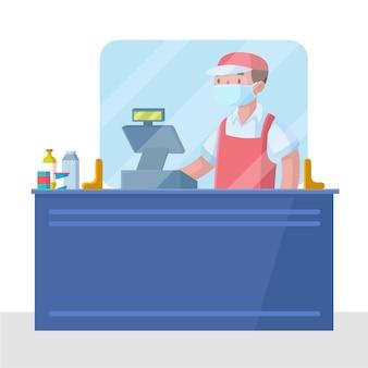 レジ係の雇用者のための保護ガラス