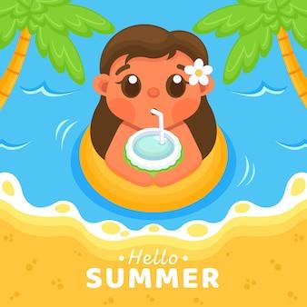 Привет летняя иллюстрация