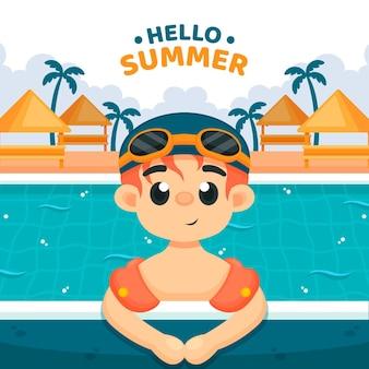 こんにちは夏イラスト