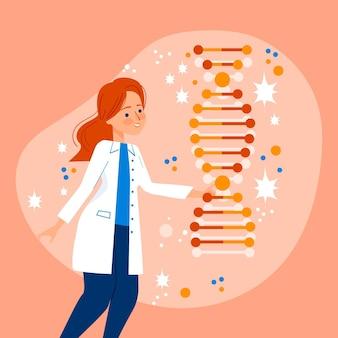 Ученый, проведение концепции молекулы днк