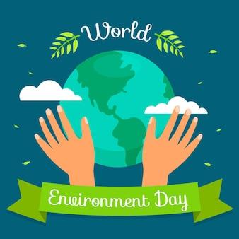 フラットなデザインの世界環境の日のコンセプト