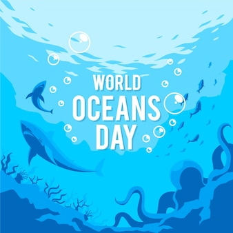 Всемирный день океанов в плоском дизайне
