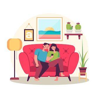 家で家族と一緒に時間を過ごす