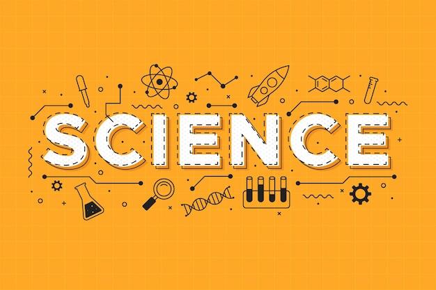 オレンジ色の背景の概念上の科学の言葉