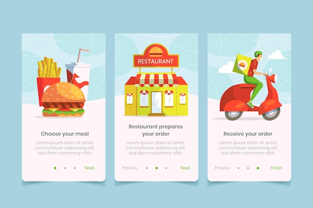 Бортовые экраны приложения доставки еды