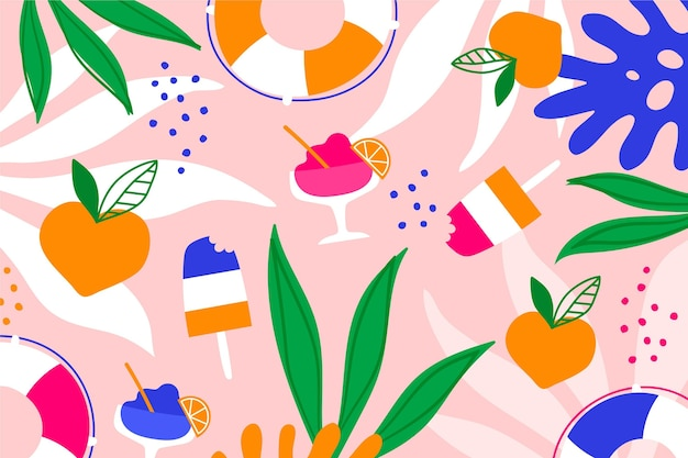 アイスクリームと葉の夏の背景