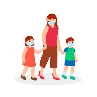 Мать гуляет с детьми