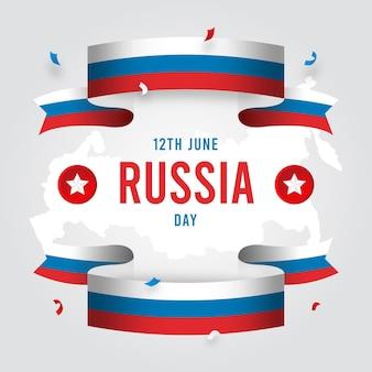 Плоский дизайн россия день и ленты