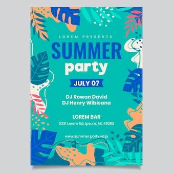 Концепция шаблона плаката летней вечеринки