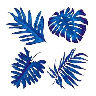 Монохроматический тропический дизайн листьев