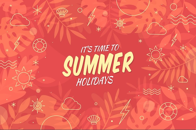 Время летних каникул плоский дизайн фона