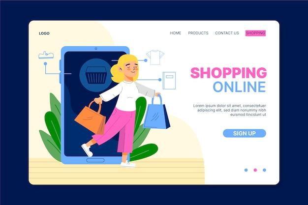 Покупки онлайн целевой страницы в плоском дизайне