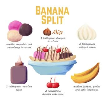 水彩レシピバナナスプリット
