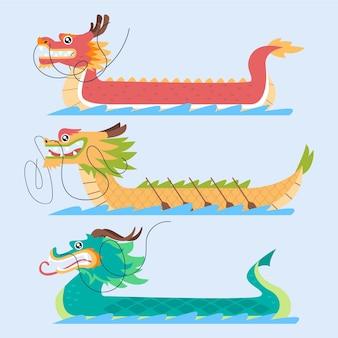 Концепция коллекции лодок-драконов