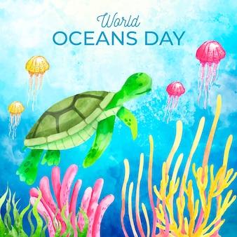 Акварельный мир океанов день фон