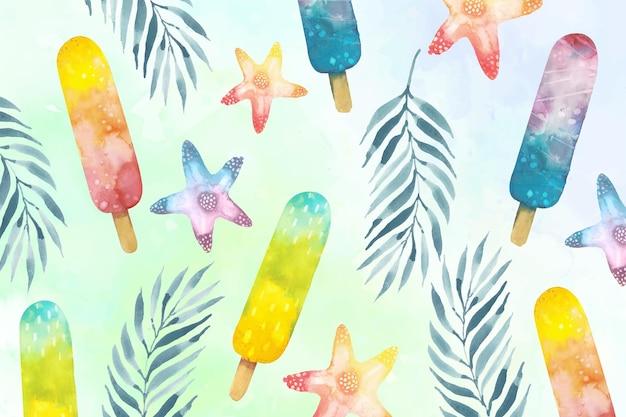 Акварель летний фон с фруктовым мороженым