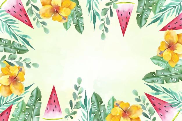 花のフレーム水彩夏背景