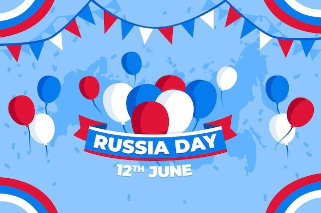 Плоский дизайн россия день фон с воздушными шарами