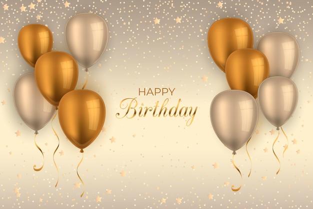 Реалистичные день рождения фон с воздушными шарами