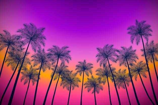 Красочные силуэты пальм