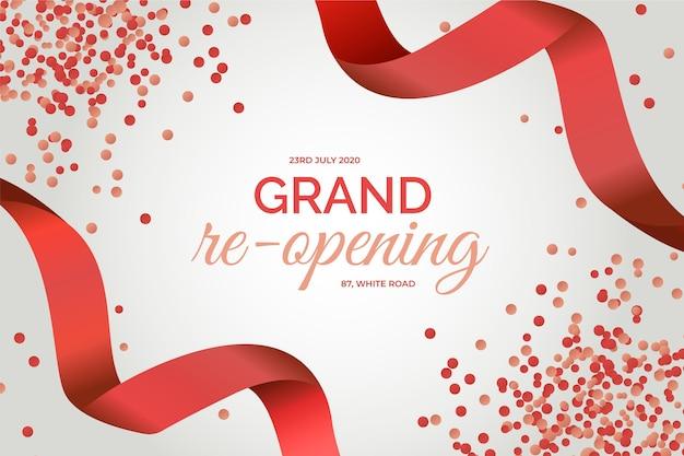 グランド再開の背景の赤い紙吹雪とリボン