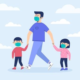 父親と子供たちが医療用マスクで歩く