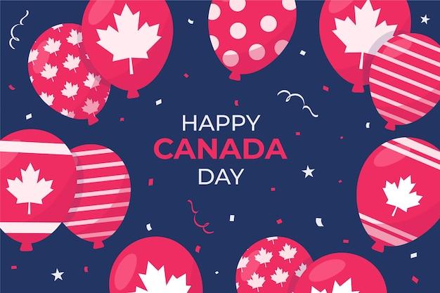 Плоский дизайн канады день шары фон