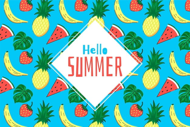 Экзотические фрукты рисованной летний фон