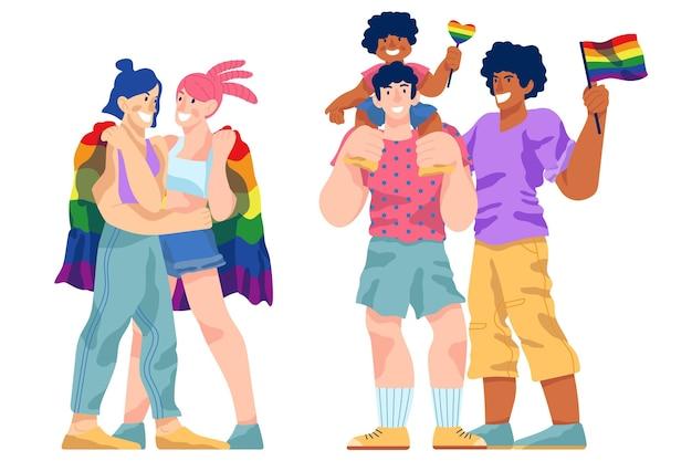 Пары и семьи празднуют тему гордости
