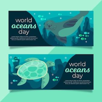 Баннеры всемирного дня океанов с печатью и черепахой