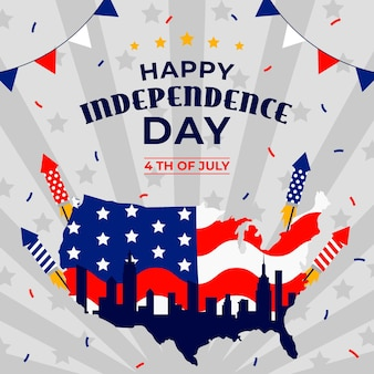 День независимости баннер с фейерверком