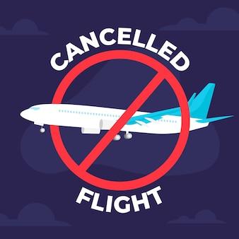 キャンセルされたフライトと旅行のコンセプト