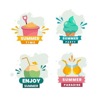 Плоский дизайн коллекции летних этикеток