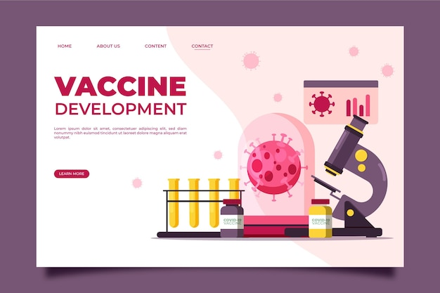 コロナウイルスランディングページに対するワクチン開発