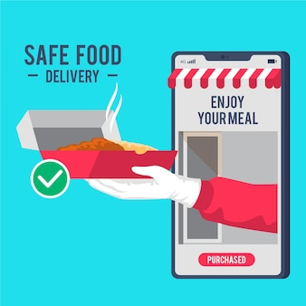 モバイルでの安全な食品配達サービス