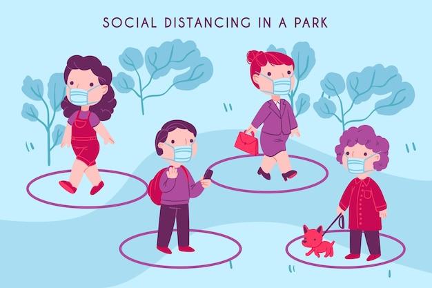 Люди делают мероприятия и держат дистанцию в парке