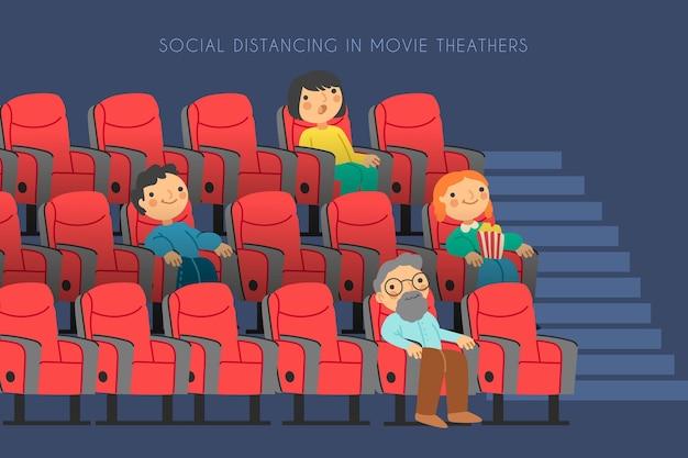 Люди держат социальную дистанцию в кинотеатре