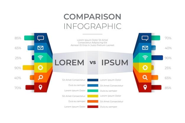 比較グラフインフォグラフィックスタイル