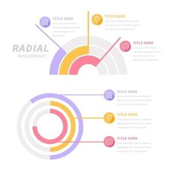 フラットデザインの放射状インフォグラフィックコレクション