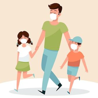 父親は子供と一緒に医療用マスクで歩く