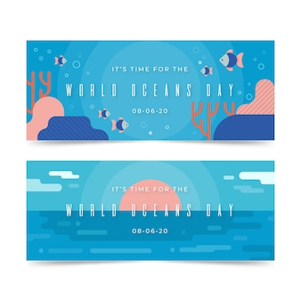 Всемирный день океанов баннеры шаблон темы