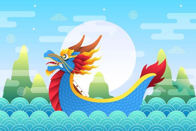 Лодка-дракон плоский дизайн фона