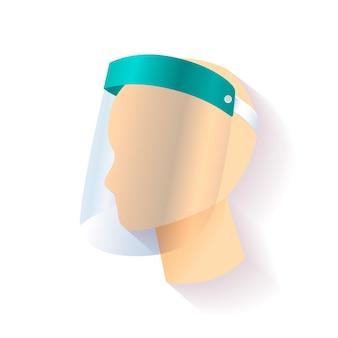 顔のプラスチック製シールド