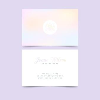 Шаблон визитной карточки пастельных цветов лотоса