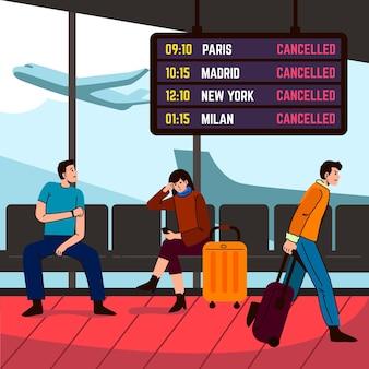 空港で待っているキャンセルされたフライトの人々