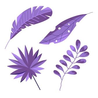 Однотонные тропические листья