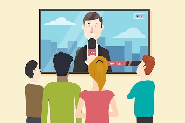 Друзья смотрят новости в помещении