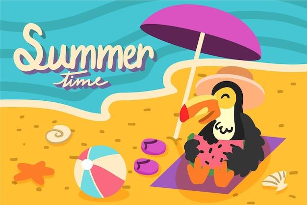 手描きスタイルの夏の背景