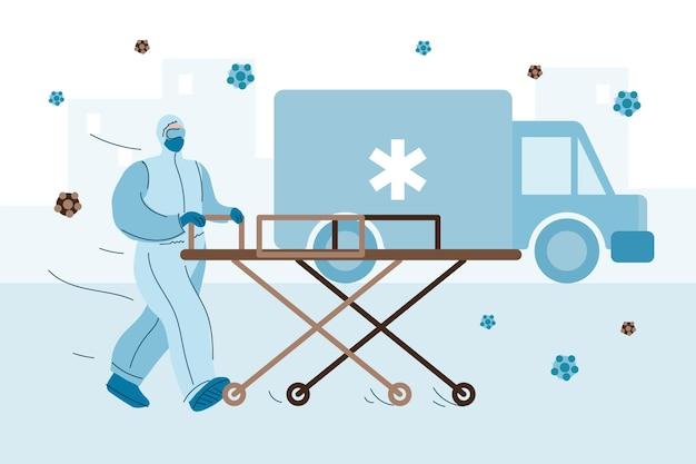 緊急救急車コロナウイルスのコンセプト