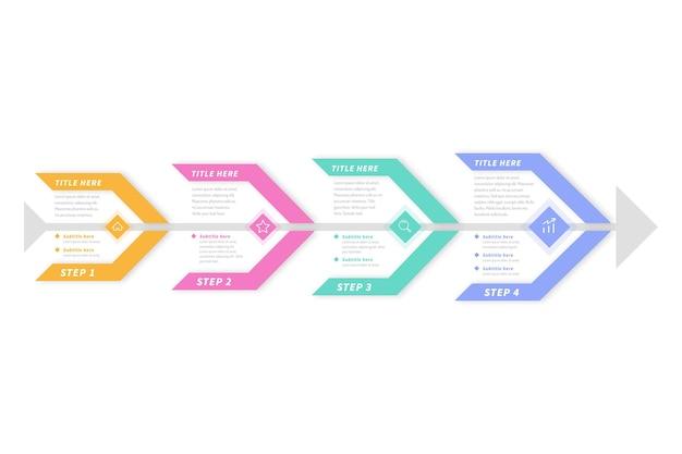 フラットなデザインのフィッシュボーンインフォグラフィックテンプレート